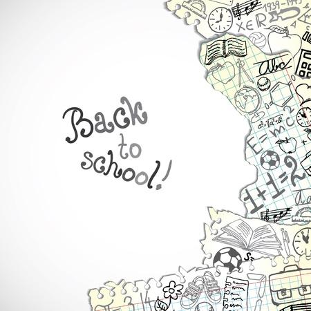 balon baloncesto: Fondo hecho de papeles con s�mbolos escolares