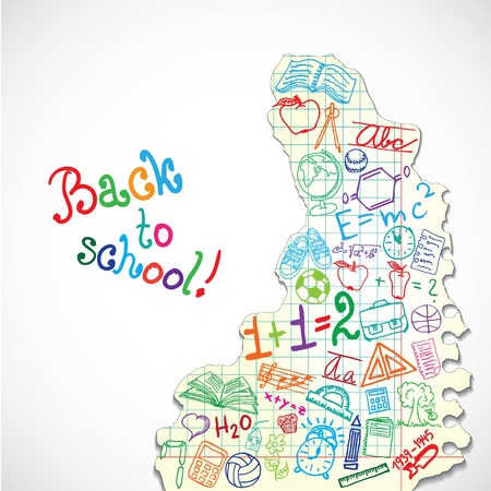 exercisebook: Background made of paper with colorful school symbols