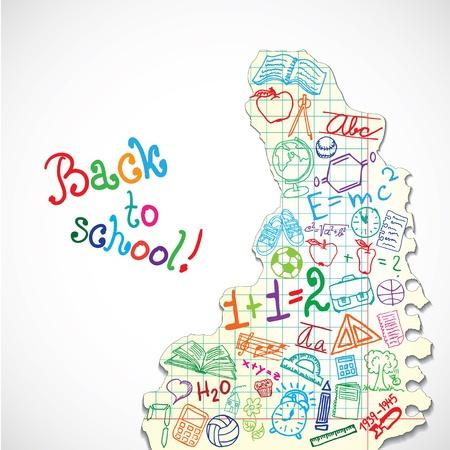 balon baloncesto: Fondo hecho de papel con símbolos coloridos escolares Vectores