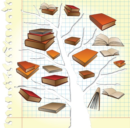 geniality: Paper with tree and books Illustration