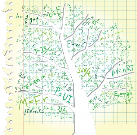 theory of relativity: Paper with tree and equations