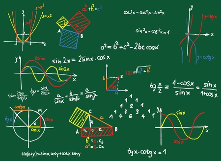 Green blackboard with colored mathematics formula and sketches  Vector