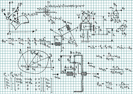 equation: Squared paper with mechanical sketches and formulas