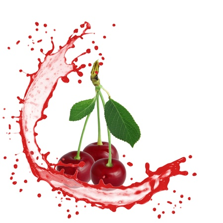 Splash with cherry isolated on white photo