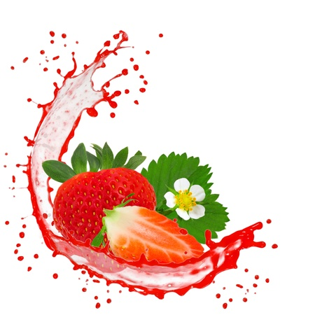 Splash with strawberry isolated on white photo