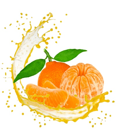 Splash with tangerine isolated on white photo