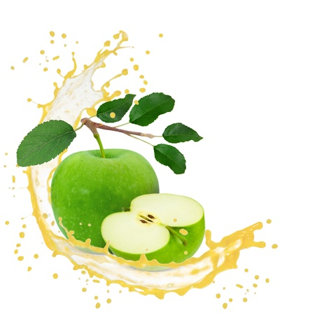 Splash with green apple isolated on white photo