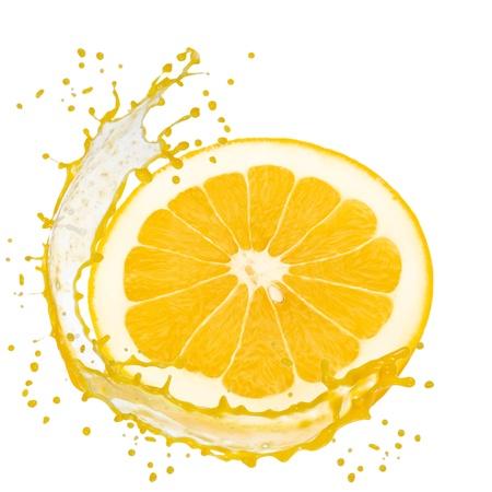 Splash with grapefruit slice isolated on white photo