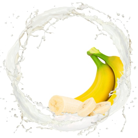 banana: Milk splash with banana isolated on white Stock Photo