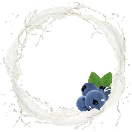 Milk splash with blueberry isolated on white photo