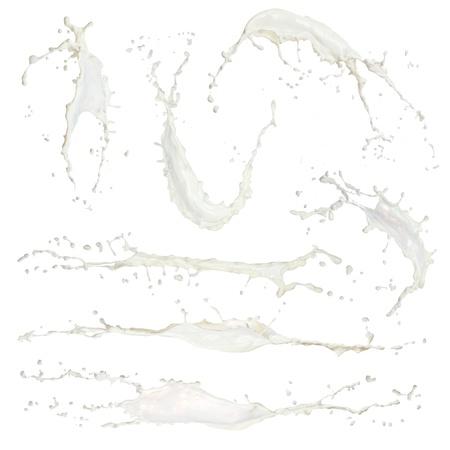latte fresco: Raccolta di latte alta risoluzione spashes isolato su bianco