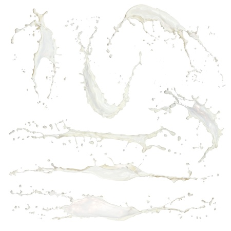 Sammlung von hochauflösenden Milch spashes isoliert auf weiß Standard-Bild - 14872684