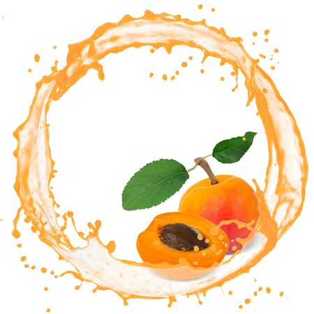 Splash with apricot isolated on white photo