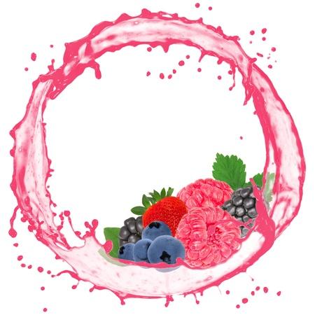 Splash with berry fruit isolated on white photo