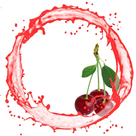 Splash with cherries isolated on white photo