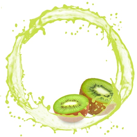Splash with kiwi isolated on white photo