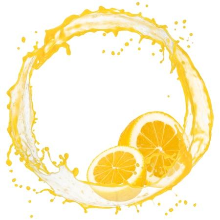 Splash with lemon slices isolated on white photo