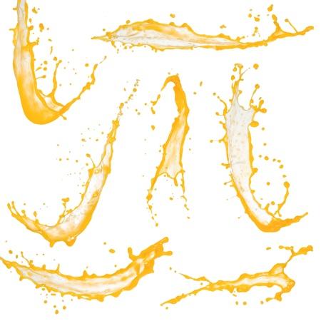 splash sinas: Collectie van hoge resolutie oranje spatten op wit wordt geïsoleerd