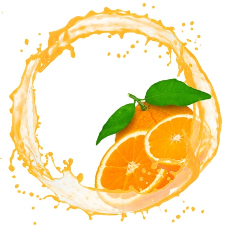 Splash with orange isolated on white photo