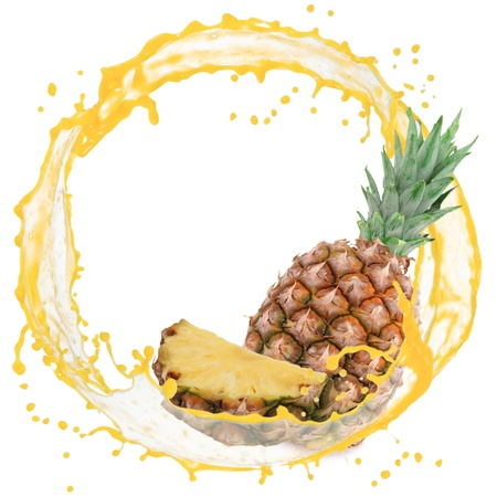 Splash with pineapple isolated on white photo