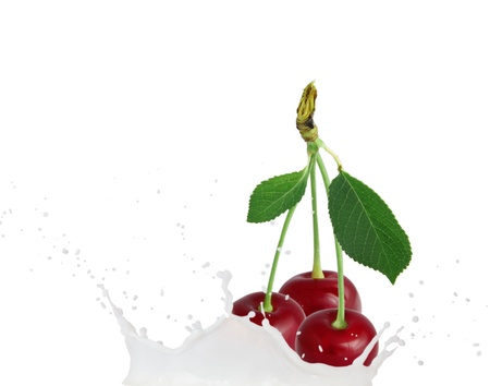 Milk splash with cherries isolated on white photo