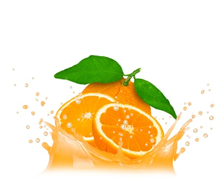 Splash with orange isolated on white photo