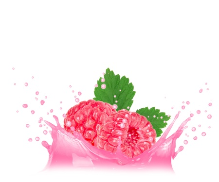 Splash with raspberry isolated on white photo