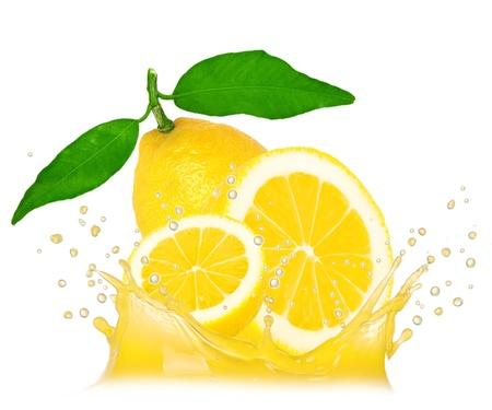 Splash with lemon isolated on white