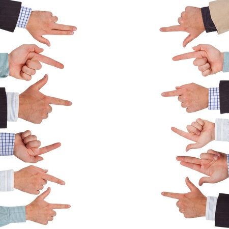 Business hands pointing on white space ready for your design photo