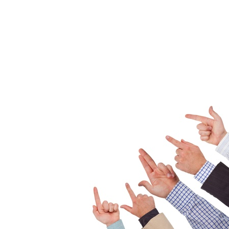 indicating: Business hands pointing on white space ready for your design