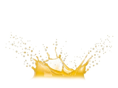 Orange splash isolated on white photo