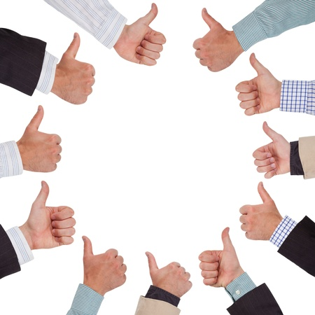 people voting: Hands in a circle with thumbs up Stock Photo