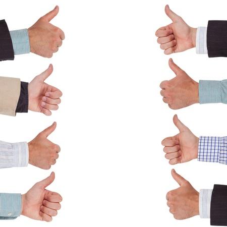 thumbs up group: Mani in una riga con i pollici in su Archivio Fotografico
