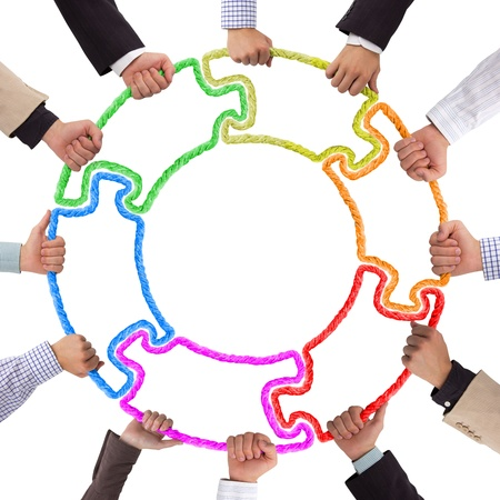 puzzle jigsaw: Hands holding puzzle forming circle