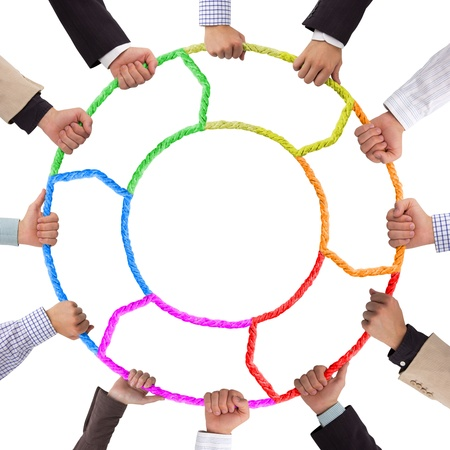 Hands holding colorful rope foming circle photo