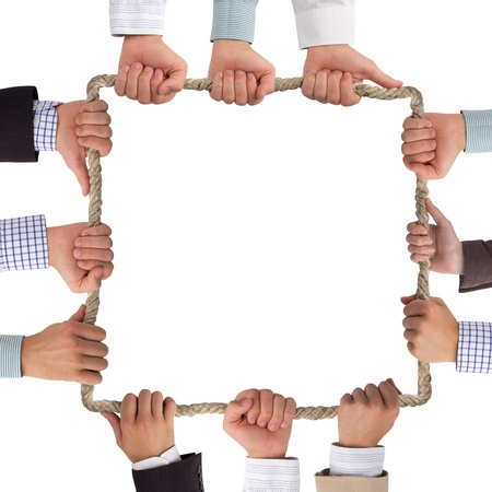 Hands holding rope forming square Stock Photo - 14953349