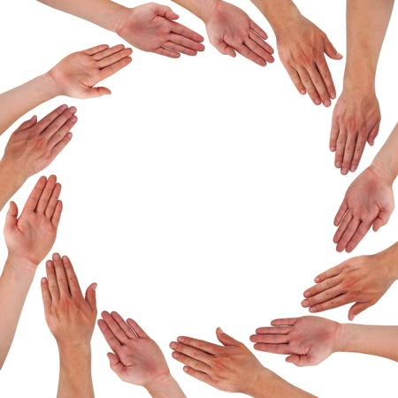 unity is strength: Hands forming circle isolated on white Stock Photo