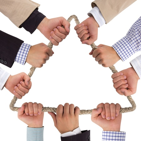 unity is strength: Hands holding rope forming triangle isolated on white Stock Photo