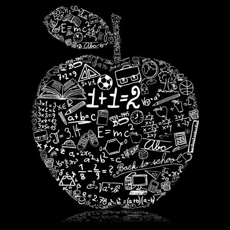 arbol de la sabiduria: Pizarra con manzana hecha de s�mbolos escolares