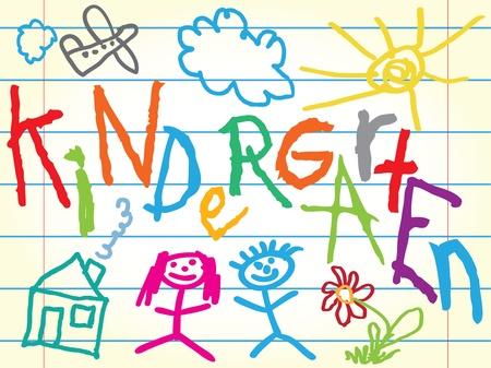 jardin infantil: Kindergarten muestra con iconos Vectores