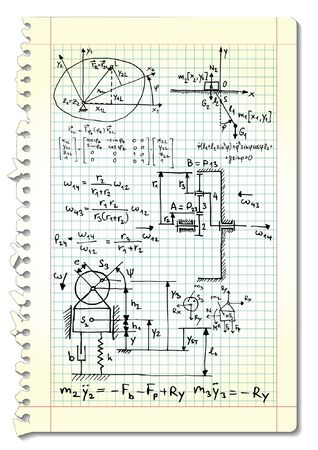 derivation: Squared paper with mechanical sketches and formulas illustration