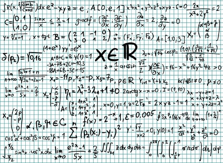 derivation: Mathematics formula on squared paper illustration