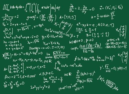 derivation: Blackboard with mathematics formula illustration  Illustration