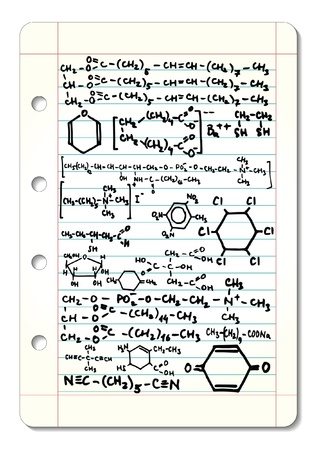 compound: Squared pad with chemical formulas illustration  Illustration