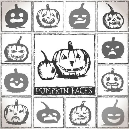 Collection of hand drawn Halloween pumpkins Vector