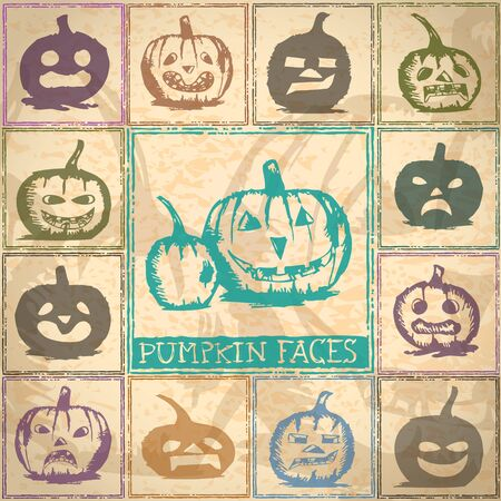 Collection of Halloween pumkin sketches Vector
