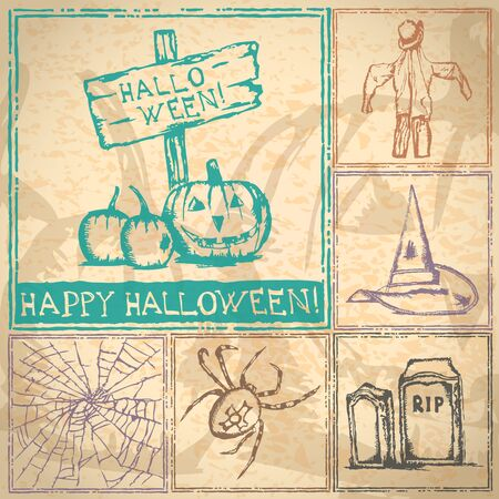 Collection of hand drawn Halloween symbols on grunge background Vector