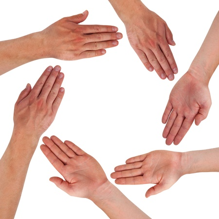 Hands forming circle isolated on white Stock Photo - 15325892