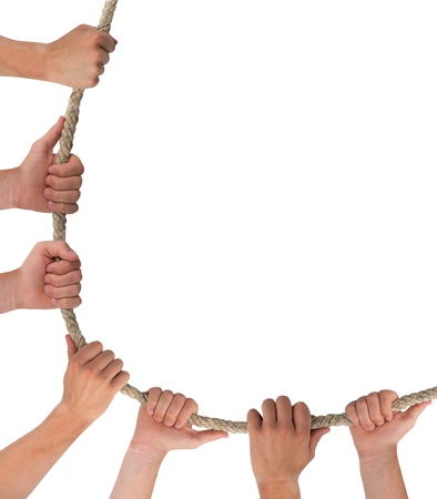 Hands holding rope abstract background Stock Photo - 15325881