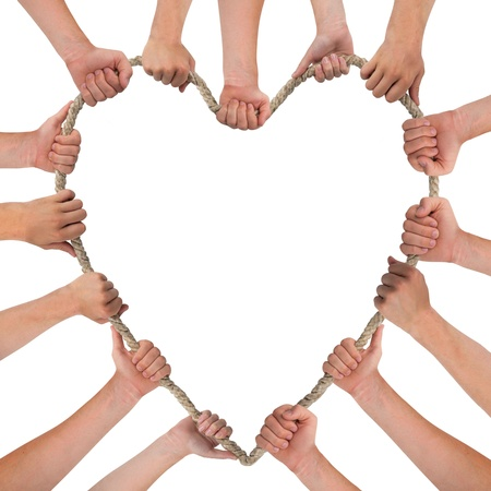support group: Hands holding rope, heart shape, with space for text